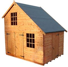 The strongman club garage wooden playhouse the wooden for Wooden playhouse with garage